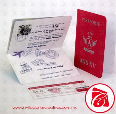 Invitaciones de 15 tematicas de pasaporte de viaje
