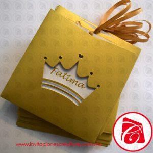 Invitaciones de 15 tematicas de corona de princesa o reina